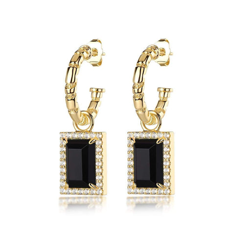 Divinyls Gemstone Earrings: Brass, Sterling Silver Plating, Onyx
