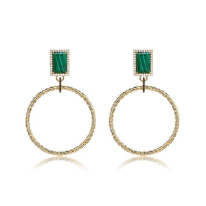 F+H Roxette Statement Hoops: Brass, 18K Gold Plating, Malachite