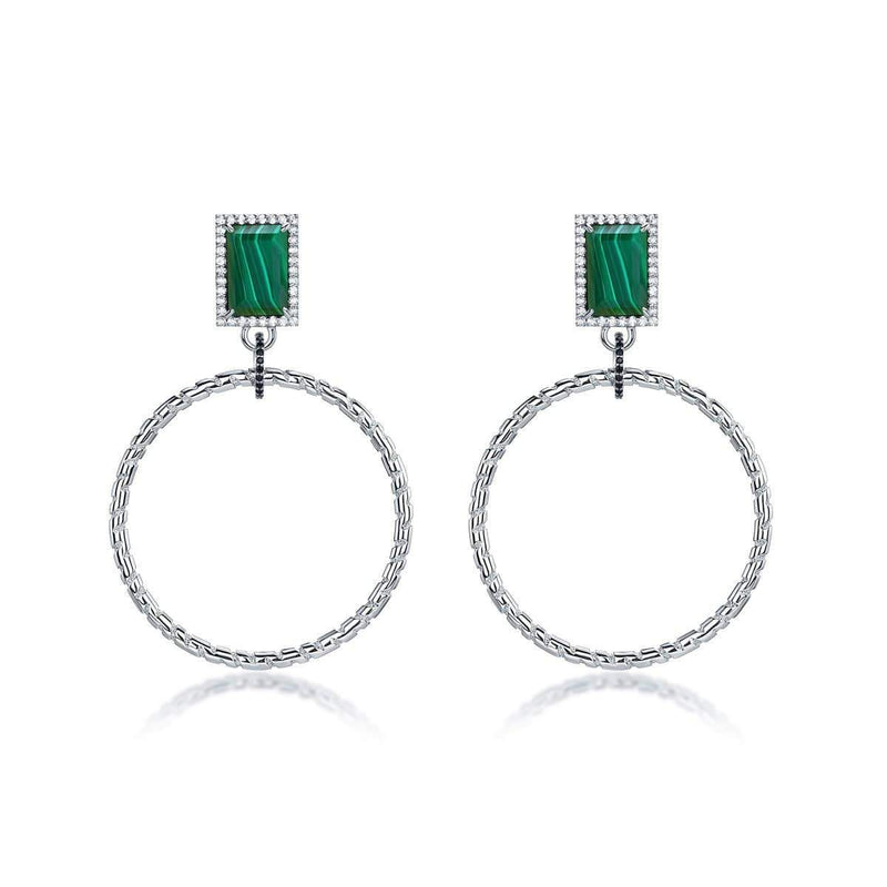 F+H Roxette Statement Hoops: Brass, Silver Plating, Malachite
