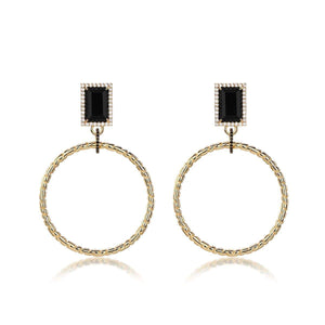 F+H Roxette Statement Hoops: Brass, 18K Gold Plating, Onyx