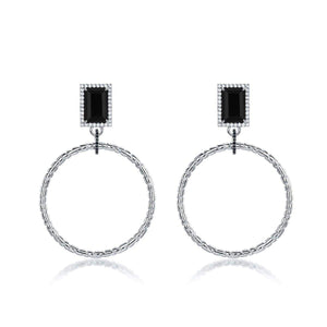 F+H Roxette Statement Hoops: Brass, Silver Plating, Onyx
