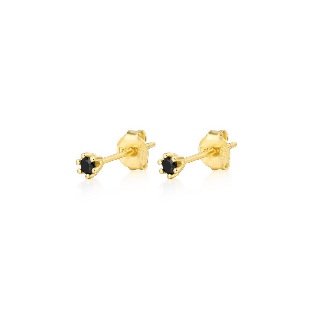 F + H Robert Gemstone Stud Sterling Silver & 18K Gold Plating- Black Spinel