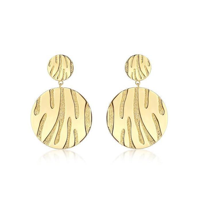 F&H Primal Tiger Statement Earrings:Brass+18K Gold Plating