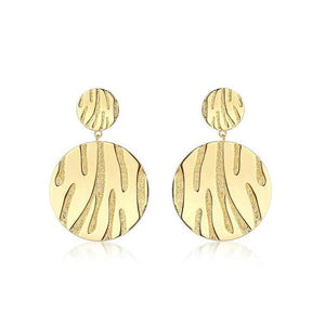 F&H Primal Tiger Statement Earrings:Brass+Sterling Silver Plating