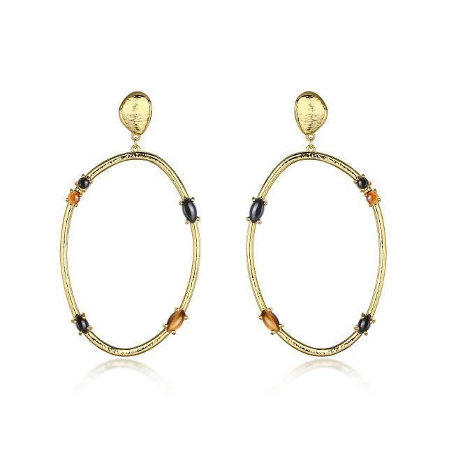 F&H Rock & Roll Gemstone Hoops: Brass & 18k Gold Plating+Tigers Eye+Black Onyx
