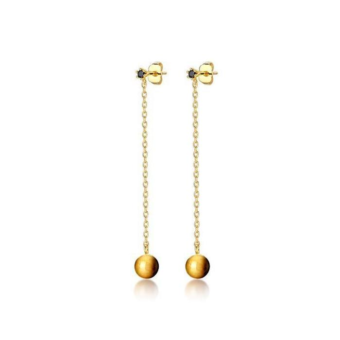 F&H Wrecking Ball Earrings Brass&18K Gold Plating+Tigers Eye+Black Onyx