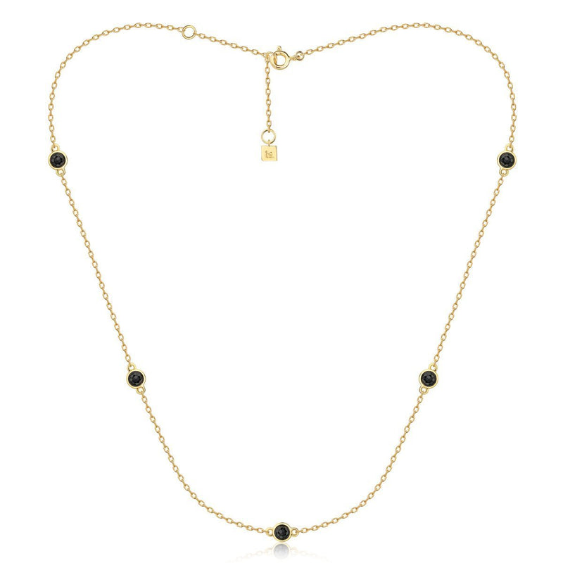 F&H Axl Gemstone Choker:Brass+18K Gold Plating+Black Spinel