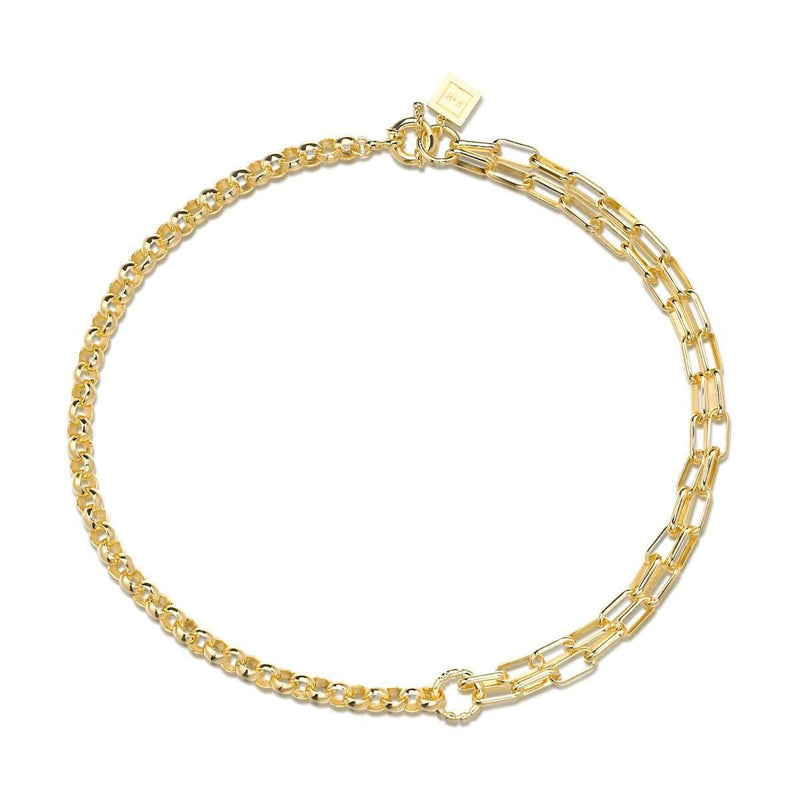 Slash Double Chain Necklace: Brass, 18K Gold Plating