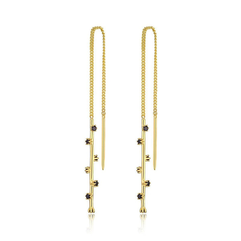F + H The Georgette Thread Earring Brass & 18K Gold Plating
