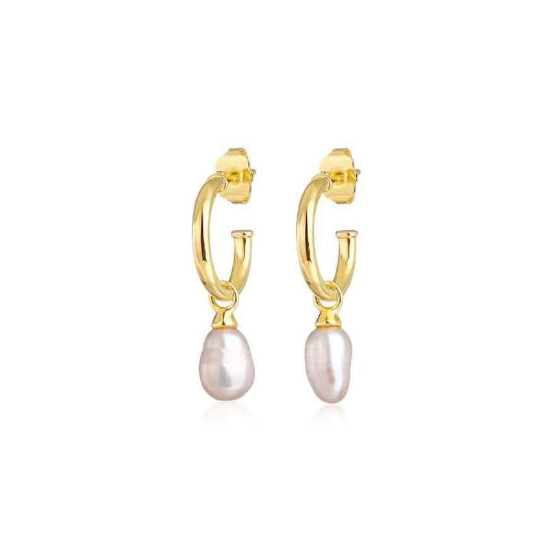 F&H Mariah Pearl Charm Earrings 18K Gold Plated + Freshwater Pearl (lilac)