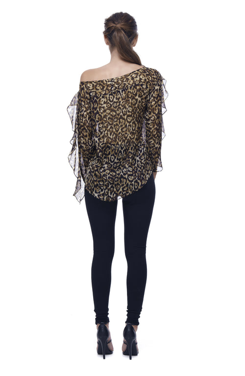 Queen of the Jungle Silk Frill Top - Leopard