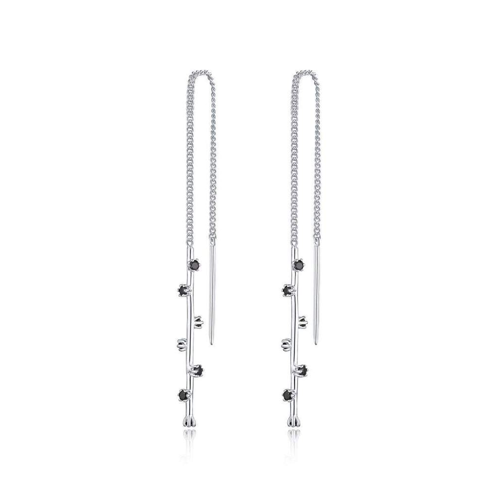 F + H The Georgette Thread Earring Sterling Silver