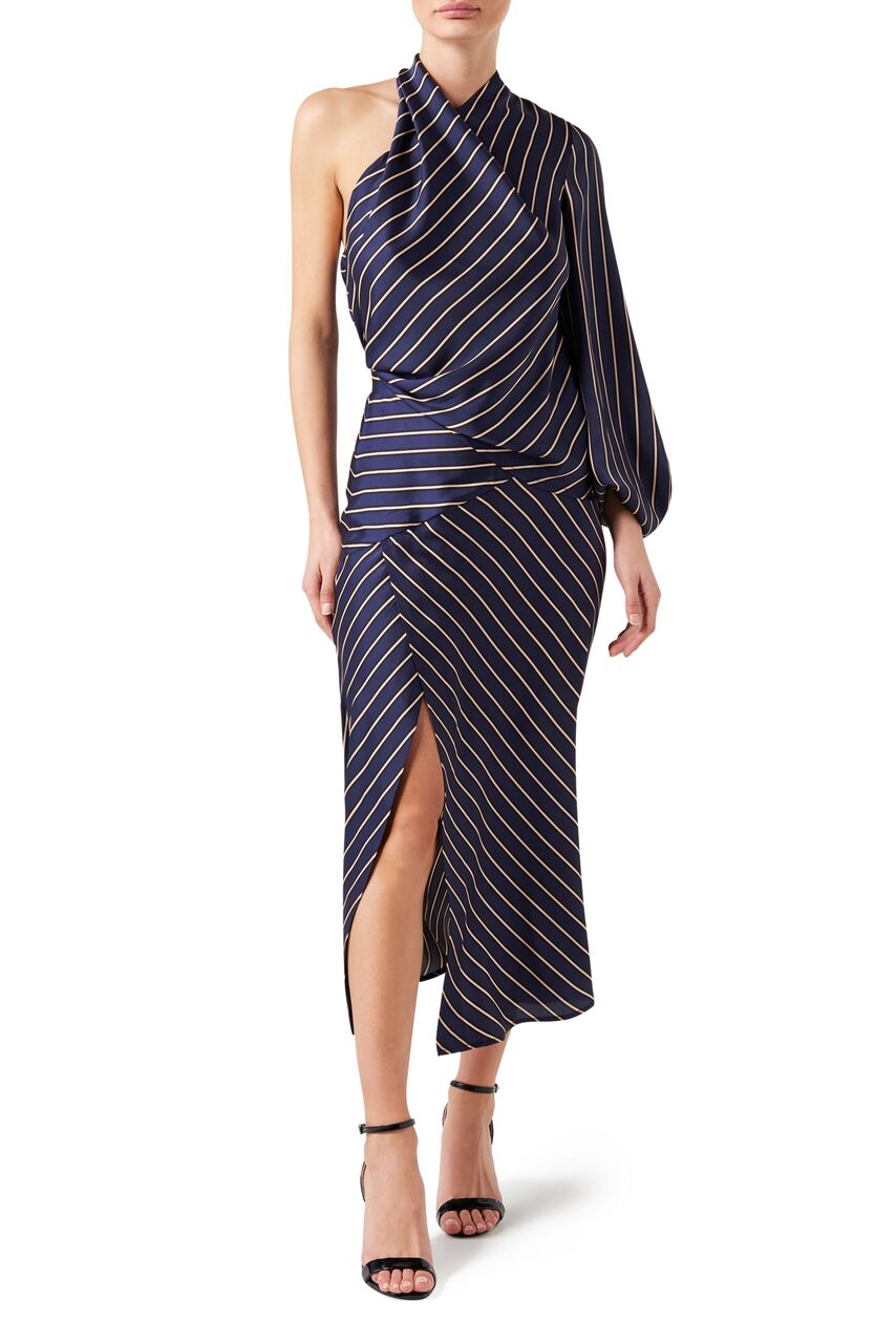 Riviera Asymmetric Skirt - Navy Stripe