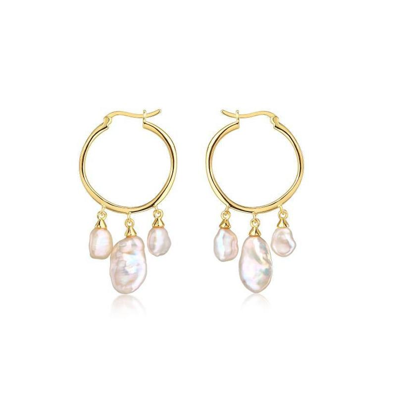F&H The Kashmir Triple Pearl Earrings Brass &18K Gold Plating with Glass Pearl
