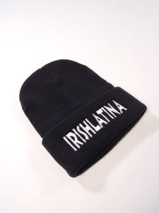 """IRISHLATINA"" Embroidered Beanie, Black"