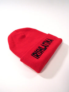 """IRISHLATINA"" Embroidered Beanie, Red"