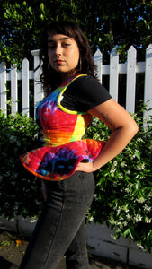 "PEPLUM TOP in ""DC Tie Dye"""