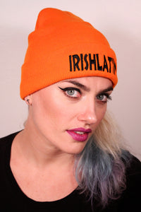 """IRISHLATINA"" Embroidered Beanie, Orange"