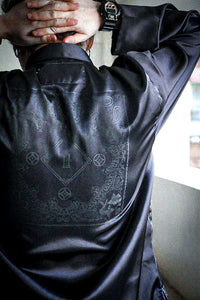 Chinese Paisley Satin Long Sleeve Shirt Black