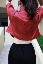Chinese Paisley Satin Short Sleeve Shirt Red