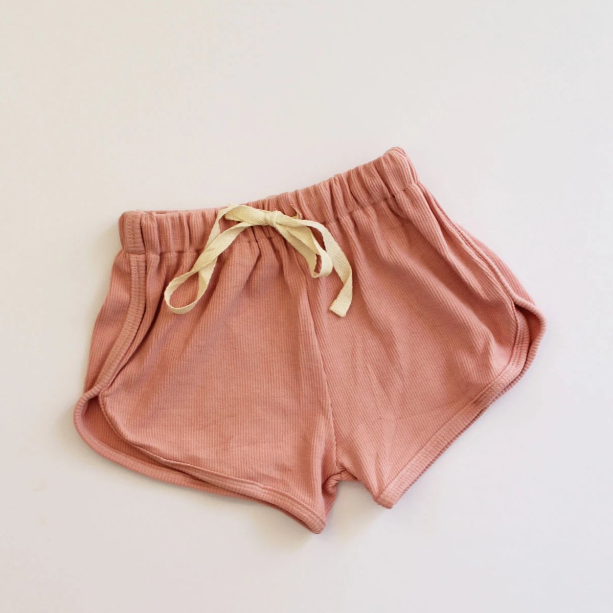 Ribbed cotton kids shorts. In blush and coral. Drawstring waist. Cotton. Kids clothing. Affordable Australian kids clothing.
