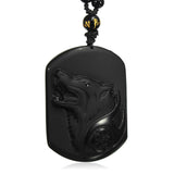 Collier Loup en Obsidienne Naturelle