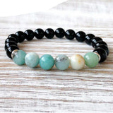 "Bracelet ""Courage"" en Amazonite et Onyx Noir"