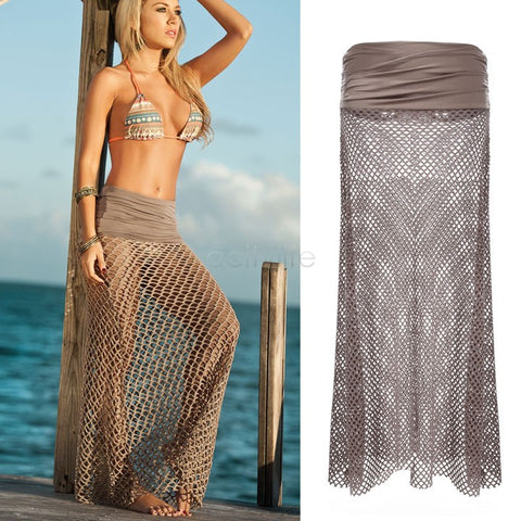 Bazien Collection,Fishnet Beach Cover Up Maxi Skirt,boho,bohemian,boho-chic,fashion