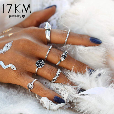 Bazien Collection,8 Piece Bohemian Ring Set,boho,bohemian,boho-chic,fashion