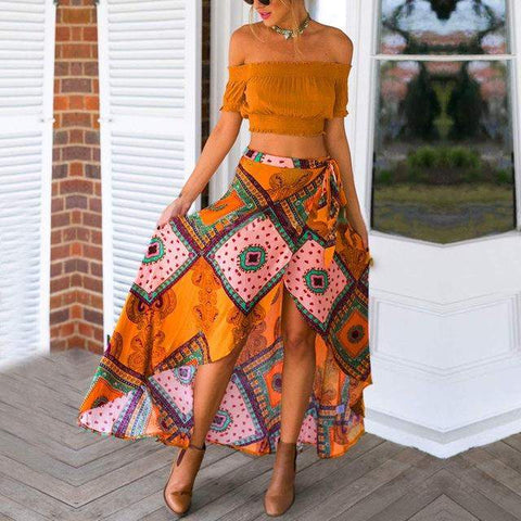 Bazien Collection,Bohemian Vintage Pattern Print Ankle-length Skirt,boho,bohemian,boho-chic,fashion