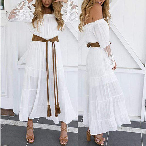 Bazien Collection,Off Shoulder Flare Sleeve White Maxi Dress with Belt,boho,bohemian,boho-chic,fashion