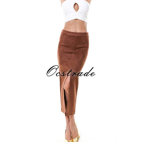 Bazien Collection,Ocstrade High Waisted Long Suede Skirt,boho,bohemian,boho-chic,fashion