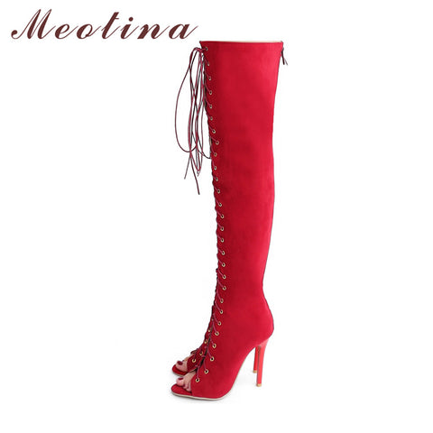 Bazien Collection,Open Toe Lace Up Knee High Boots,boho,bohemian,boho-chic,fashion