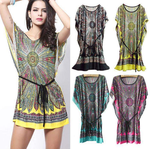 Bazien Collection,Ice Silk Cotton Short Sleeve Tunic Dress,boho,bohemian,boho-chic,fashion
