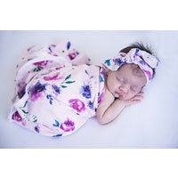 Baby Jersey Wrap & Topknot - Floral Kiss