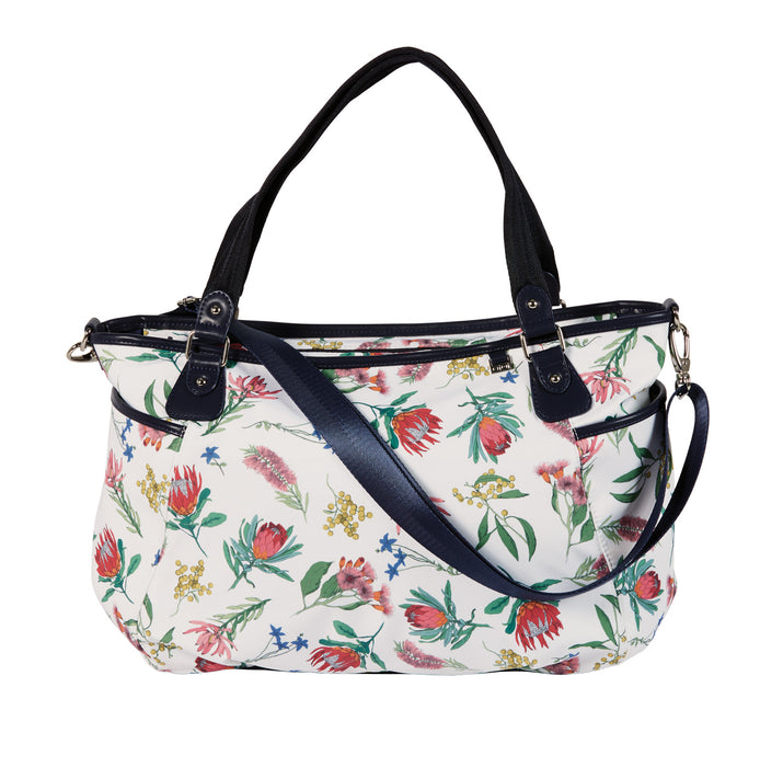 Tote Nappy Bag - Botanical White