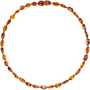 Child Amber Bean Necklace - Cognac