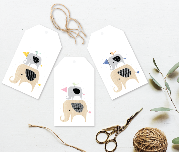 Baby Elephant Gift Tag