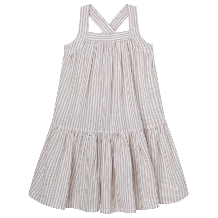 Cross Strap Dress - Oatmeal Stripe