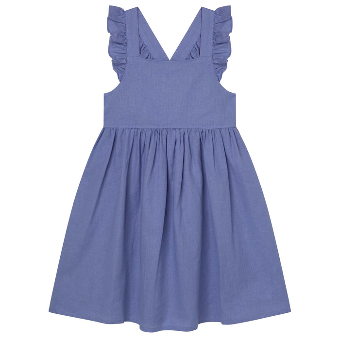 Frill Cross Strap Dress - Pacific Blue