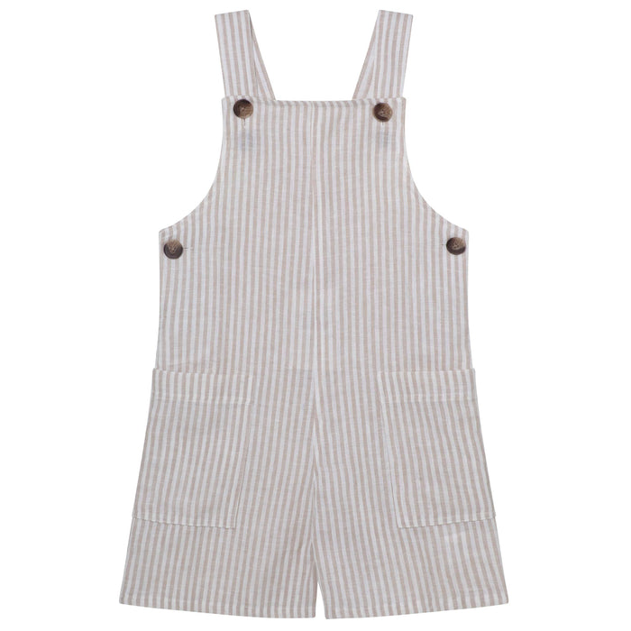 Button Front Jumpsuit - Oatmeal Stripe