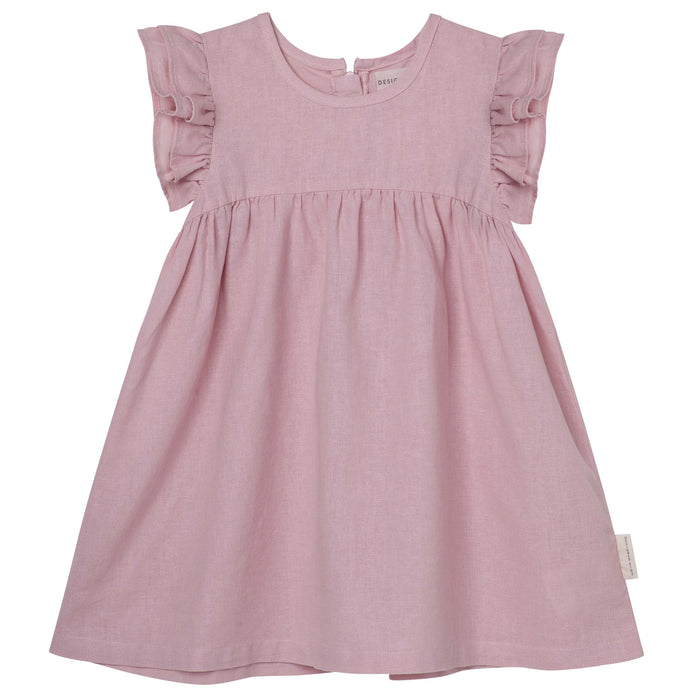Frill Sleeve Dress - Dusty Pink
