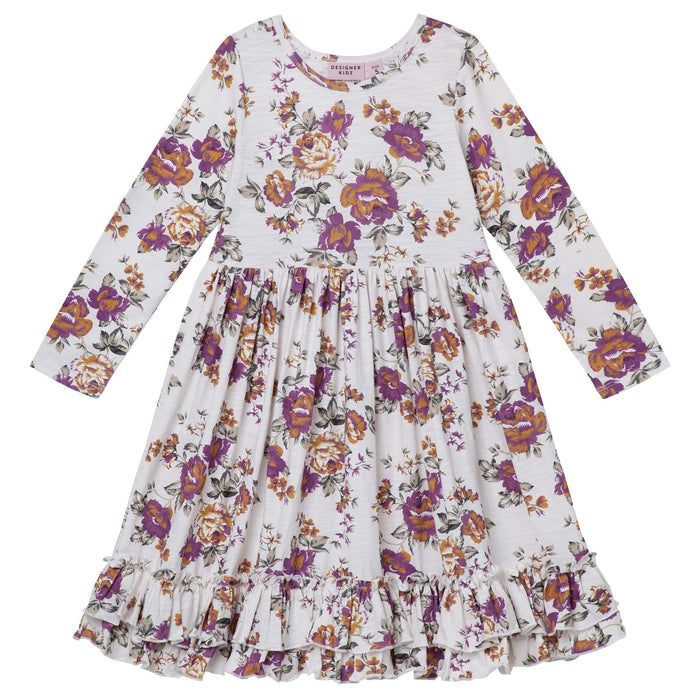 Pearl Floral Swing Dress - Truffle