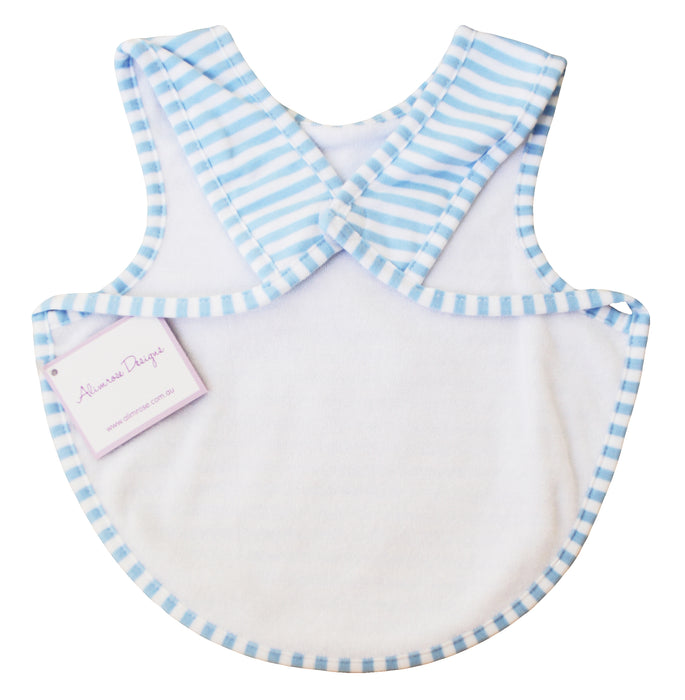 Bib - Arm holes back fastening - Blue