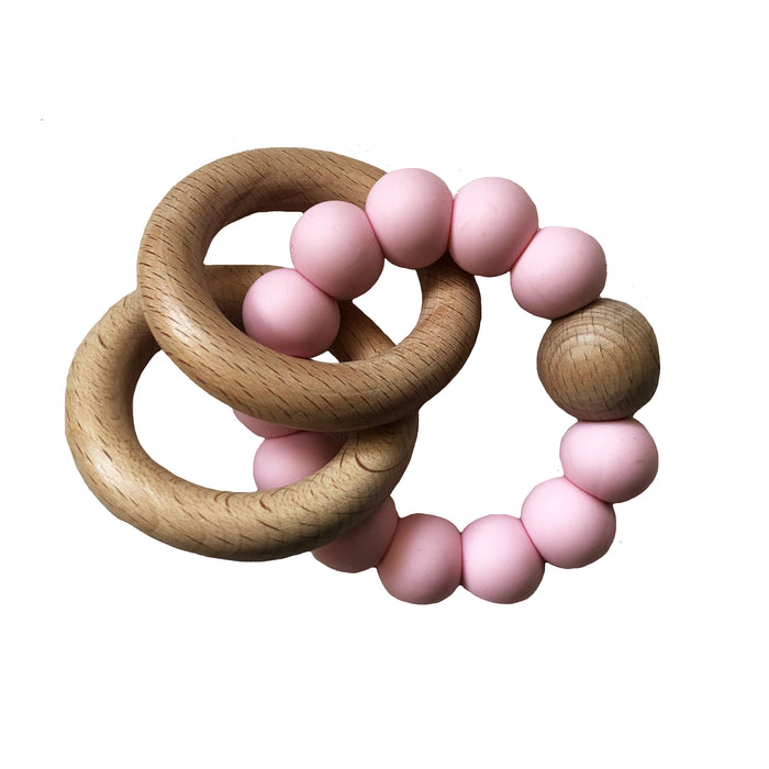 Beechwood Teether Rings - Rosewater