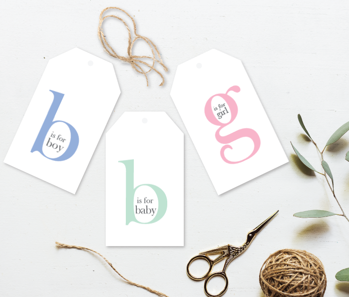 b is for Baby Gift Tag