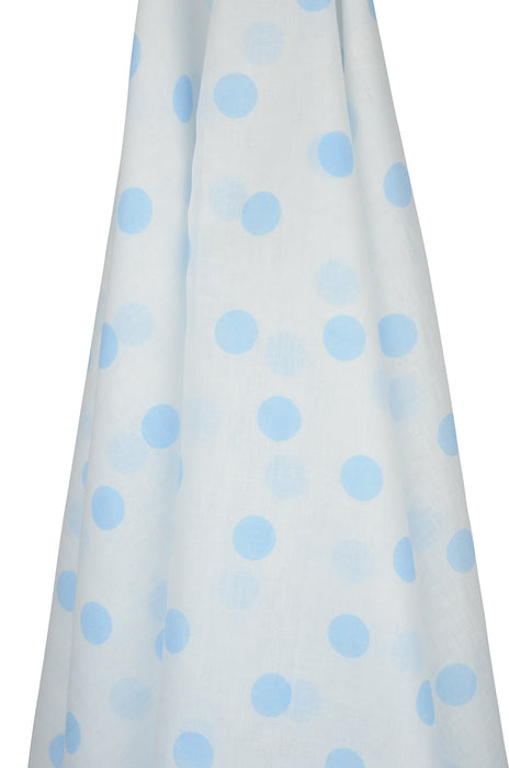 White Muslin Wrap with Blue Spots