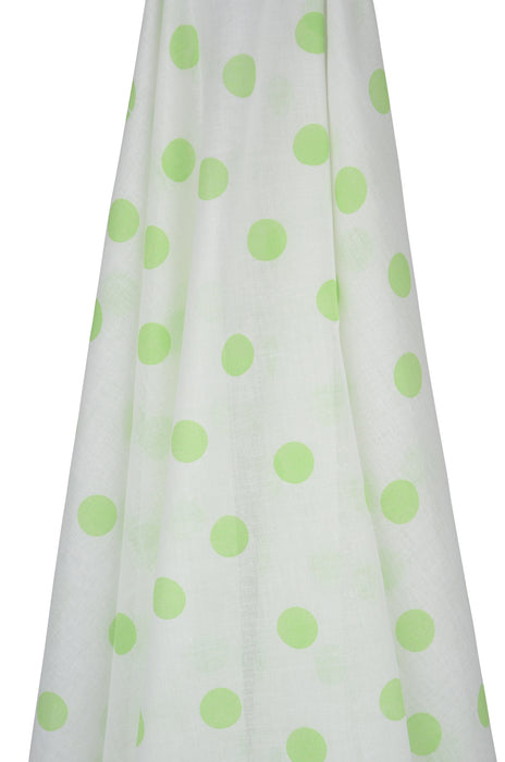 White Muslin Wrap with Green Spots