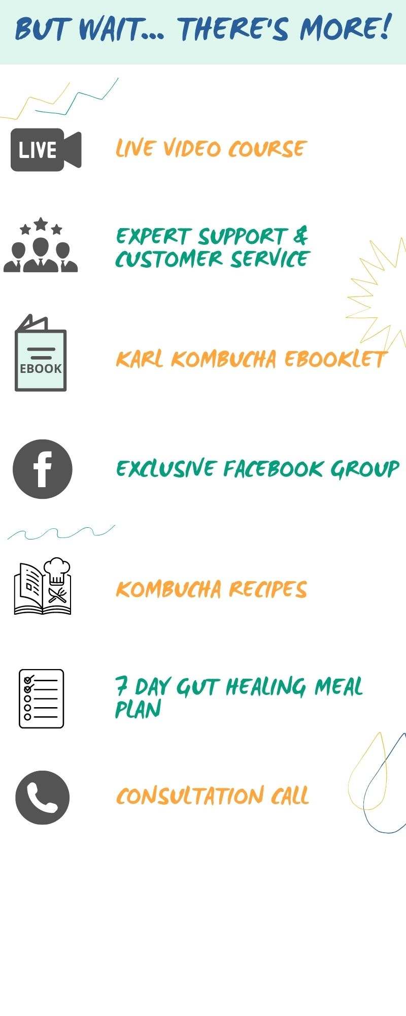 Karl Kombucha Kit also includes, video course, expert support, ebooklet, facebook group, recipes, 7 Day Meal Plan, Consultation Call
