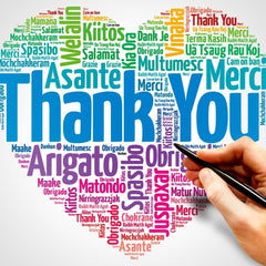 Showing Gratitude by saying thank no matter which language, heart of thank you's in multiple languages